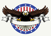 vector of american bald eagle hold the blank ribbon for text
