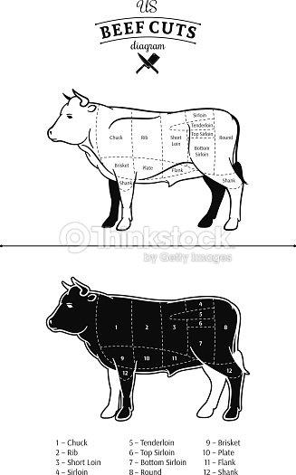 American Beef Cuts Diagram Vector Art Thinkstock