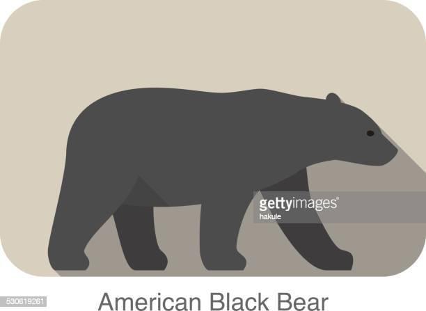 American black bear walking side flat 3D icon design