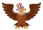American Eagle in the patriotic hat with open spread wings. Cartoon styled vector illustration. Elements is grouped. No transparent objects. Isolated on white.