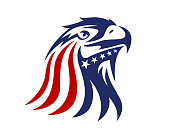 American eagle patriotic eagle head illustration with blue and red USA color