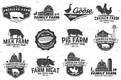 American Farm Badge or Label. Vector illustration. Vintage typography design with chicken, pig, turkey, cow and farm house silhouette. Elements on the theme of the milk, pork and chicken farm business
