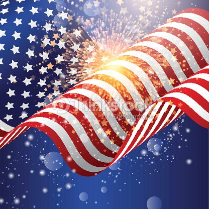 American flag background with firework