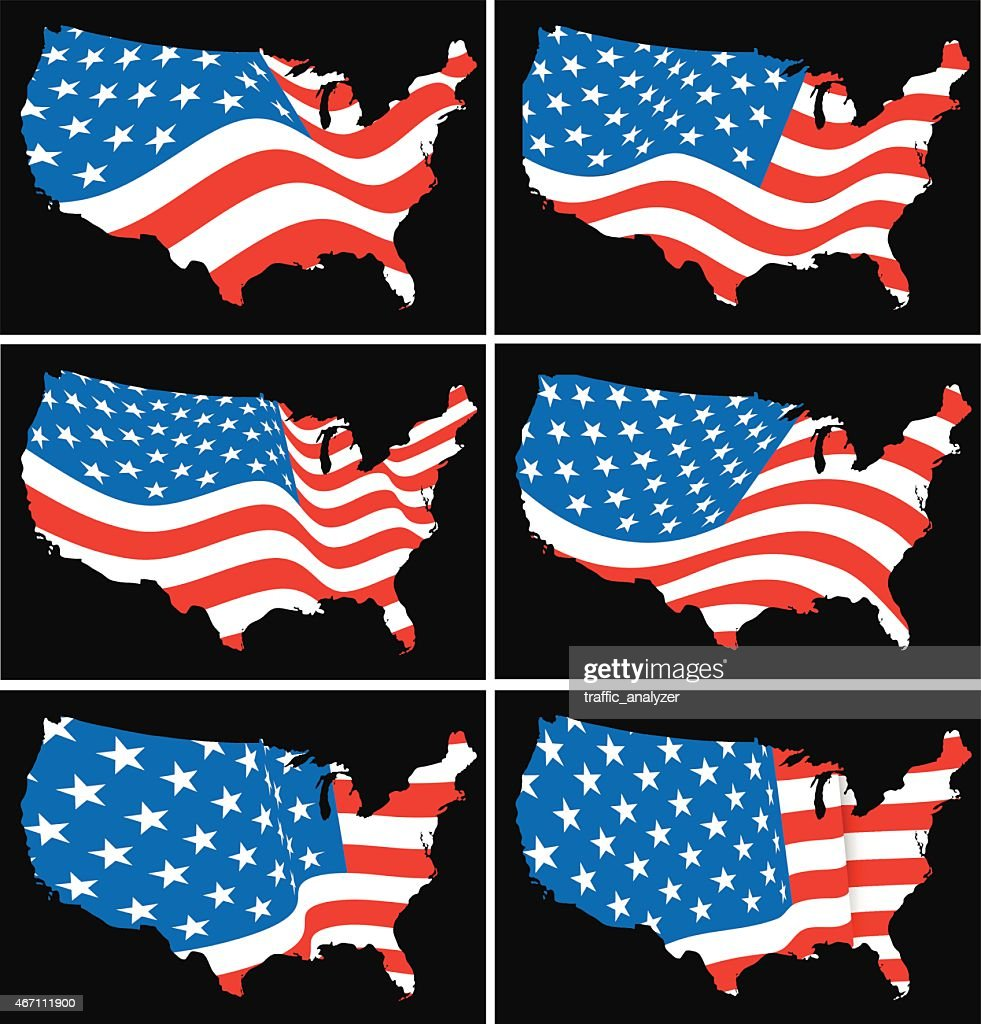 American Flag Over Map Of United States Vector Art Getty Images - Us flag and map