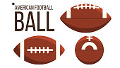 American Football Ball Vector. Rugby Sport Equipment. Different View. Isolated Illustration