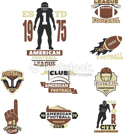 American football championship badge template for sport team with ball logo competition vector : stock vector