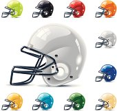 Set of the football / gridiron helmets in different colors