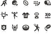 Monochromatic American football related vector icons for your design and application. Raw style. Files included: vector EPS, JPG, PNG.