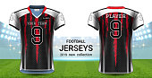 American Football or Soccer Jerseys Uniforms, T-Shirt Sport Mockup Template Front and Back View for Presentation, Fully Customize and Everything is Edible, Resizable and Color Change.