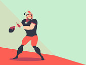 American football player Action Vector, character Football Player vector and space for text