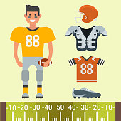 American football player and sport game uniform vector cartoon style isolated quarterback jumping success usa athlete. Professional competition floodlit challenge culture fitness.