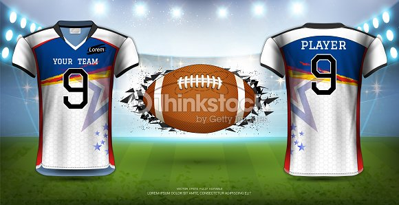 a27e2c73bfc American Football, Rugby or Soccer Jerseys Uniforms, Realistic Graphic  Design Front and Back View