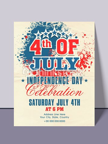 American Independence Day Invitation Card Vector Art