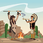American indian cartoon in desert icon vector illustration graphic design