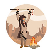 American indian cartoon in round icon icon vector illustration graphic design