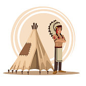 American indians cartoon icon vector illustration graphic design