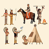 American indians icons set icon vector illustration graphic design