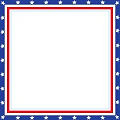 American patriotic square frame with blank space for your images and text.