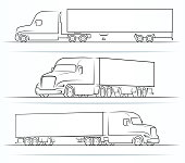 American road train silhouettes, outlines, contours. Side and perspective view of the semi truck with a trailer. Vector illustration isolated on white background