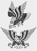 fully editable vector illustration of American Screaming Eagle Tattoo, image suitable for tattoo, embem, insignia, design element or mascot