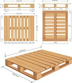 Universal wooden pallet in perspective, front, top and side view with dimensions.