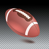 American striped football ball, diagonal position in frame. Realistic vector 3D illustration. Icon of the flying Rugby ball with shadow isolated on transparent background.