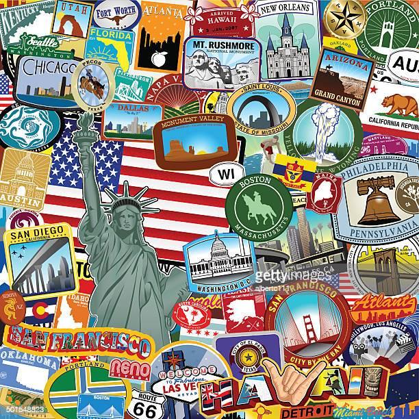 Americana Sticker collage