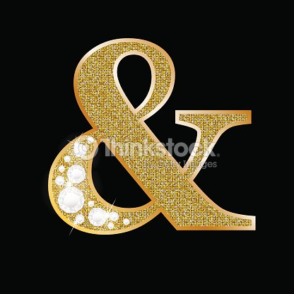 Ampersand Symbol Of Gold And Diamond Vector Art | Thinkstock