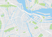 Amsterdam colored vector map