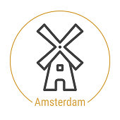 Amsterdam, Netherlands Vector Line Icon with Gold Circle Isolated on White. Amsterdam Landmark - Emblem - Print - Label - Symbol. Windmill Pictogram. World Cities Collection.
