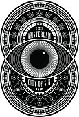 Amsterdam the City of Sin sign. Black seal emblem on white. Two decorated overlapping circles with an eye in the middle. Erotic, hallucination and drugs elements. Poster design, tee graphic.