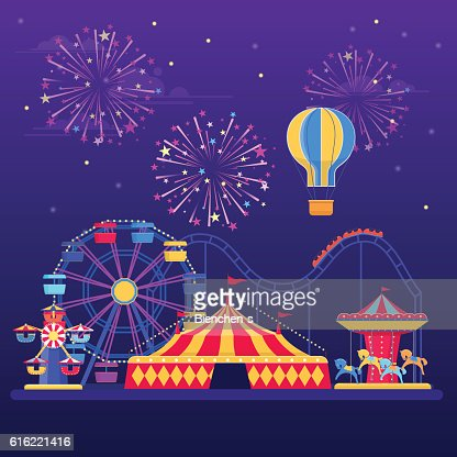 Amusement park at night with fireworks, balloon and rides : Vector Art