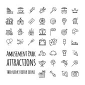 Amusement park, attraction vector icons set for your design