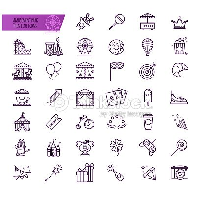 Amusement park, attraction vector icons : stock vector