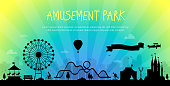 Amusement park - modern vector illustration with place for text on urban background. Big wheel, attractions, benches, lanterns, trees, people, merry-go-round, castle, people. Hot air balloon, airplane