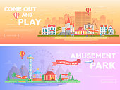 Amusement park - set of modern flat vector illustrations with place for text. Two variants of funfair. Lovely cityscape with attractions, houses, carousels, big wheel. Orange and purple colors