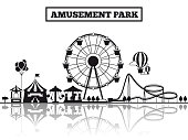 Amusement park black silhouette banner poster design. Vector illustration flat