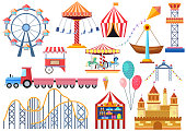 Amusement park vector entertainment icons elements isolated. Colorful cartoon flat ferris wheel, carousel, circus and castle isolated