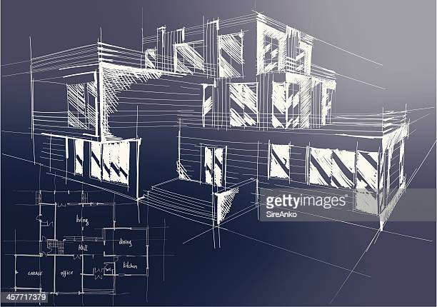 An architectural blueprint of plans for a new building