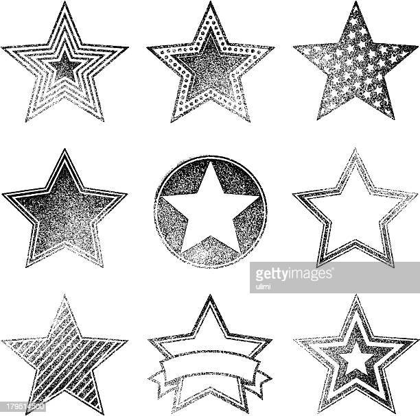 An assortment of different faded star designs