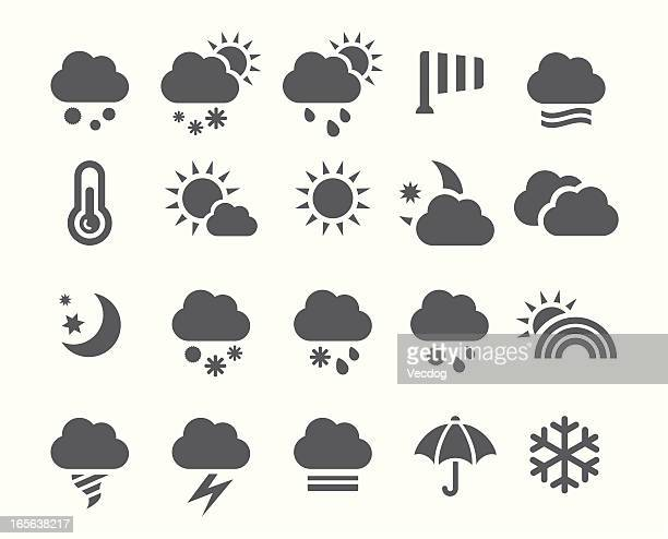 An assortment of grey weather-related icons