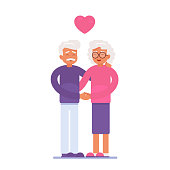 an elderly couple hugged each other with love and a red heart hovering over them. Senior man and older woman holding hand in hand. characters for Valentine's day