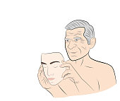 An elderly man dresses a mask with the face of a young guy. concept of rejuvenation. vector illustration.