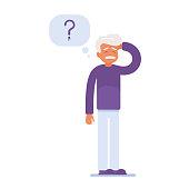 an elderly person has memory problems. a tangle of thoughts over his head. vector illustration of medical content
