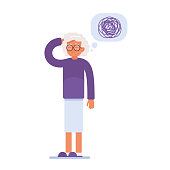 an elderly woman has memory problems. a tangle of thoughts over her head. vector illustration of medical content