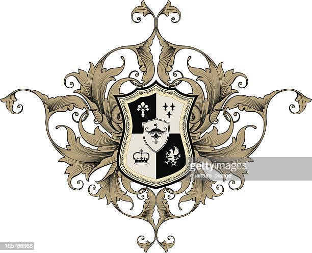An illustrated coat of arms in Black and Tan