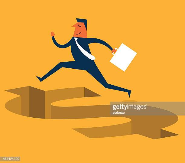 An illustration of a business man jumping over a dollar