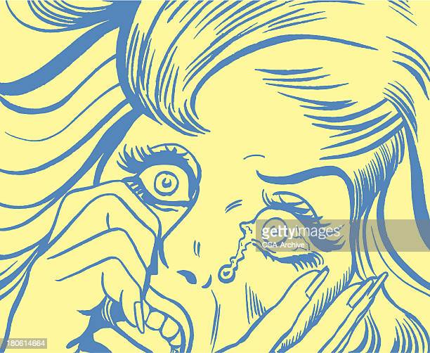 An illustration of a frightened crying woman