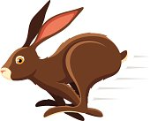 Vector illustration of a running rabbit. Illustration uses no gradients, meshes or blends, only solid color. Both .ai and AI8-compatible .eps formats are included, along with a high-res .jpg.