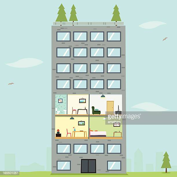 An illustration of an apartment with a pine tree
